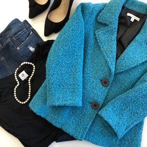 CAbi Charming Jacket 186, Turquoise Boucle, Size 6